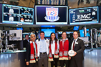U.S. Soccer president Sunil Gulati, former U.S. Men's National Team star Jeff Agoos, U.S. women national team midfielder Carli Lloyd, New York Red Bulls General Manager Jerome de Bontin, and Stefhan Jekel, managing director of EMEA during the centennial celebration of U. S. Soccer at the New York Stock Exchange in New York, NY, on April 02, 2013.
