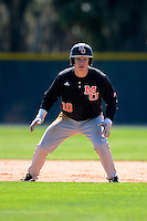 Mercer Bears second baseman Michael Massi #10 during a game against the Notre Dame Fighting Irish at the Buck O'Neil Complex on February 17, 2013 in Sarasota, Florida.  Mercer defeated Notre Dame 5-4.  (Mike Janes/Four Seam Images)