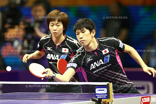 Maharu Yoshimura & Kasumi Ishikawa (JPN), APRIL 27, 2015 - Table Tennis : 2015 World Table Tennis Championships Mixed doubles 2nd round match at Suzhou International Expo Centre, Suzhou, China. (Photo by Shingo Ito/AFLO SPORT)