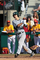 Matt Frank (23) of the Jacksonville Dolphins bats against the USC Trojans at Dedeaux Field on February 19, 2012 in Los Angeles,California. USC defeated Jacksonville 4-3.(Larry Goren/Four Seam Images)