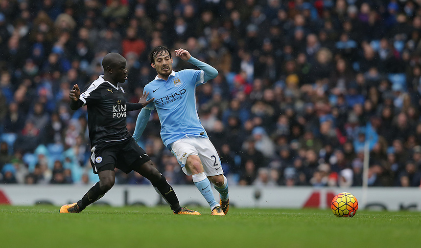 Manchester City's David Silva is tackled by Leicester City's Ngolo Kante<br /> <br /> Photographer Stephen White/CameraSport<br /> <br /> Football - Barclays Premiership - Manchester City v Leicester City - Saturday 6th February 2016 -  Etihad Stadium - Manchester<br /> <br /> &copy; CameraSport - 43 Linden Ave. Countesthorpe. Leicester. England. LE8 5PG - Tel: +44 (0) 116 277 4147 - admin@camerasport.com - www.camerasport.com