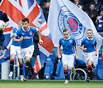 Lee McCulloch leads out the Rangers team
