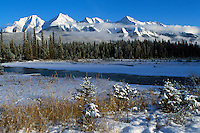 Kootenay National Park, Canadian Rockies, BC, British Columbia, Canada - Snow Covered Kootenay River and Mitchell Range Mountains, Winter
