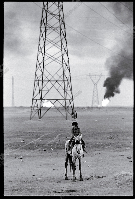 Blow-off flames from a gas plant. Ahwaz, January 8, 1979
