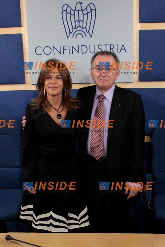Emma Marcegaglia e Giorgio Squinzi.Roma 22/03/2012 Il Direttivo di Confindustria ha eletto il nuovo Presidente..Photo Samantha Zucchi Insidefoto