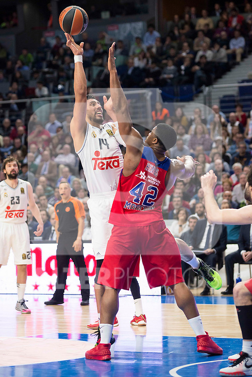 Real Madrid's player Gustavo Ayon and CSKA Moscu's player Hines during the match between Real Madrid and CSKA Moscu of Turkish Airlines Euroleague at Barclaycard Center in Madrid, March 02, 2016. (ALTERPHOTOS/BorjaB.Hojas) during the match between Real Madrid and CSKA Moscu of Turkish Airlines Euroleague at Barclaycard Center in Madrid, March 02, 2016. (ALTERPHOTOS/BorjaB.Hojas)