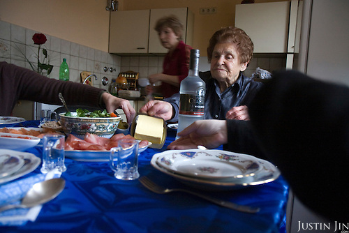 Ukrainian Jewish emigre Maria Tkach, 90, serves borscht at home in Berlin. Borsht is a traditional Ukrainian cuisine that has spreaded via Russia throughout the former Soviet sphere.
