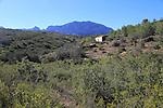 Mountain landscape abandoned farmhouse near Xalo or Jalon, Marina Alta, Alicante province, Spain