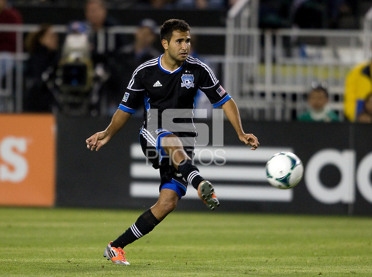 Steven Beitashour of Earthquakes kicks the ball during the game against the Rapids at Buck Shaw Stadium in Santa Clara, California on May 18th, 2013.  San Jose Earthquakes tied Colorado Rapids, 1-1.