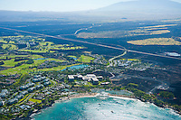Aerial of Marriott at Waikoloa Resort in lava landscape