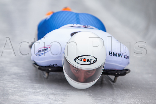 February 24th 2017,  Berchtesgaden - Konigssee, Germany; Action from the Men's Skeleton Runs 1 and 2, Mattia GASPARI ITA