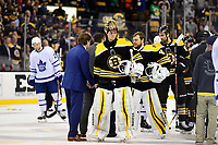 April 25, 2018: Boston Bruins goaltender Tuukka Rask (40) after shaking hands with the Toronto Maple Leafs at game seven of the first round of the National Hockey League's Eastern Conference Stanley Cup playoffs between the Toronto Maple Leafs and the Boston Bruins held at TD Garden, in Boston, Mass. Boston defeats Toronto 7-4 and wins the best of seven series 4 games to 3 to advance to round two.