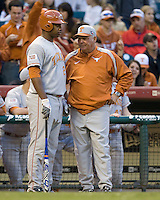 NCAA Baseball featuring the Texas Longhorns against the Missouri Tigers. Kevin Keyes and Augie Garrido 4433  at the 2010 Astros College Classic in Houston's Minute Maid Park on Sunday, March 7th, 2010. Photo by Andrew Woolley