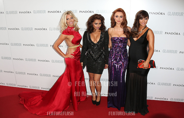Mollie King, Vanessa White, Una Healy, Frankie Sandford, The Saturdays arriving for the 013 Glamour Women of The Year Awards, Berkeley Square, London. Picture by: Henry Harris / Featureflash