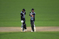 NZ openers Martin Guptill (left) and Colin Munro during the 4th Twenty20 International cricket match between NZ Black Caps and England at McLean Park in Napier, New Zealand on Friday, 8 November 2019. Photo: Dave Lintott / lintottphoto.co.nz