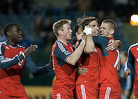 Alan Gordon (second from right) celebrates his goal with Alen Stevanovic (right) and teammates The San Jose Earthquakes tied Toronto FC 1-1 at Buck Shaw Stadium in Santa Clara, California on April 9th, 2011.