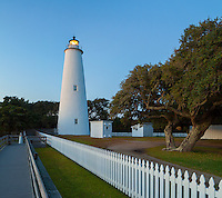 Cape Hatteras National Seashore, NC:  Ocracoke Island Lighthouse (1823) at dusk