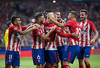 Atletico Madrid´s French forward Antoine Griezmann celebrating after scoring a goal during the UEFA Champions League group C match between Atletico Madrid and Chelsea played at the Wanda Metropolitano Stadium in Madrid, on September 27th 2017.