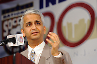 US Soccer President Sunil Gulati gives the welcome address during the induction ceremony for the National Soccer Hall of Fame at the New Meadowlands Stadium in East Rutherford, NJ, on August 10, 2010.