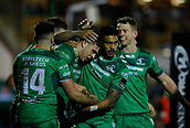 9th February 2018, Galway Sportsground, Galway, Ireland; Guinness Pro14 rugby, Connacht versus Ospreys; Connacht players celebrate with try scorer Tom Farrell