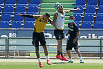 Getafe's Mathias Olivera (l) and Jason Remeseiro during training session. June 5,2020.(ALTERPHOTOS/Acero)