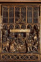 Europe/France/Auvergne/12/Aveyron/Saint-Geniez: L'église des pénitents, détail du triptyque de l'adoration des mages XVème