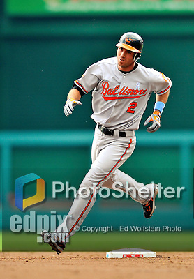 19 June 2011: Baltimore Orioles' infielder J.J. Hardy rounds the bases after hitting a home run against the Washington Nationals on Father's Day at Nationals Park in Washington, District of Columbia. The Orioles defeated the Nationals 7-4 in inter-league play, ending Washington's 8-game winning streak. Mandatory Credit: Ed Wolfstein Photo