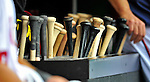 8 September 2011: A bin full of baseball bats are ready for the players of the Washington Nationals as they host the Los Angeles Dodgers at Nationals Park in Washington, DC. The Dodgers defeated the Nationals 7-4 to take the third game of their 4-game series. Mandatory Credit: Ed Wolfstein Photo