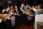 Jonathan Brody with Bobby Conte Thornton, Robert De Niro, Nick Cordero and cast during the Actors' Equity Gypsy Robe Ceremony honoring Jonathan Brody for  'A Bronx Tale'  at The Longacre on December 1, 2016 in New York City.