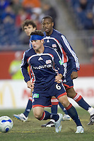 A patched up Jay Heaps (NE Revolution, blue). Jay Heaps was injured on the play that resulted in a penalty kick for the NE Revolution. NE Revolution defeat Colorado Rapids, 3-1, at Gillette Stadium on Sept. 30, 2006.