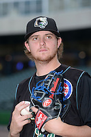 Kane County Cougars pitcher Paul Blackburn (34) poses for a photo before a game against the Peoria Chiefs on June 2, 2014 at Dozer Park in Peoria, Illinois.  Peoria defeated Kane County 5-3.  (Mike Janes/Four Seam Images)
