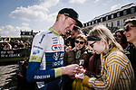 Frederik Backaert (BEL) Wanty-Gobert Cycling Team at the team presentations in Compiegne before Paris-Roubaix 2019, Compuiegne, France. 13th April 2019<br /> Picture: ASO/Pauline Ballet | Cyclefile<br /> All photos usage must carry mandatory copyright credit (© Cyclefile | ASO/Pauline Ballet)