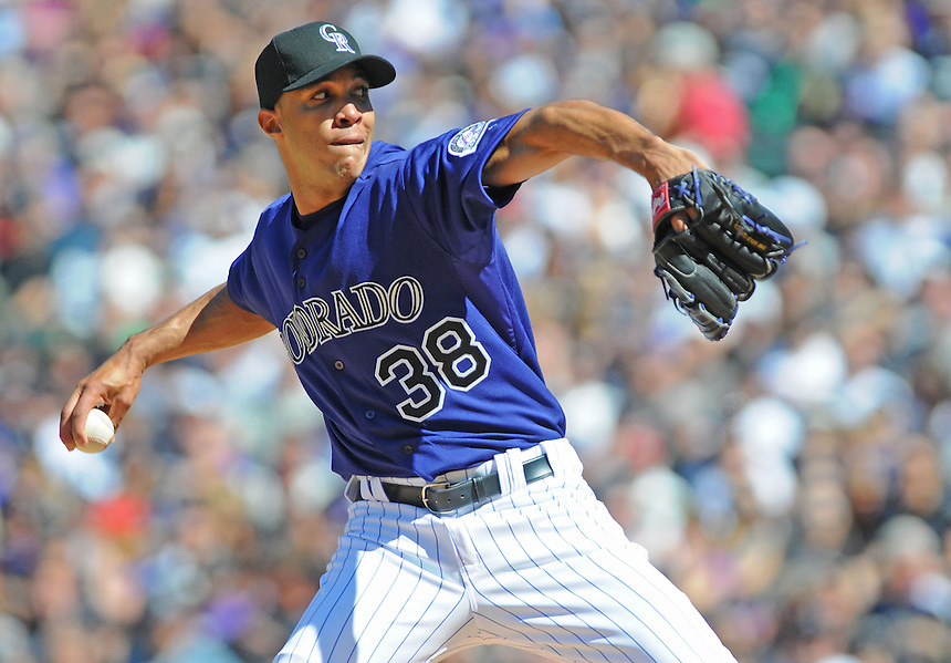01 April 2011: Colorado Rockies starting pitcher Ubaldo Jimenez (38) during a regular season game between the Arizona Diamondbacks and the Colorado Rockies at Coors Field in Denver, Colorado. The Diamondbacks beat the Rockies 7-6 in 11 innings.    *****For Editorial Use Only*****