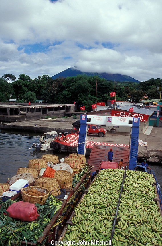 Ferry loaded with plantains, corn and other crops at the dock in Moyogalpa, Isla de Ometepe, Nicaragua