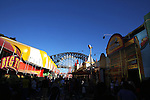 Luna Park Sydney is an amusement park located in Sydney, New South Wales, Australia. Luna Park is located at Milsons Point, on the northern shore of Sydney Harbour.. Sydney, Australia. Saturday 31st August  2013. (Photo: Steve Christo)