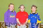 HANDBALL: The students of Clogher NS competing in the Kerry handball primary schools county final at Tralee Sports Complex on Friday l-r: Mary Healy, Claire Kenny and Darragh Lynch...