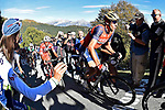 The main bunch of favourites including Vincenzo Nibali (ITA) Bahrain-Merida climb the Sormano during the 111th edition of Il Lombardia 2017 &quot; The Race of the Falling Leaves&quot; the final monument of the season, running 247km from Bergamo to Como, Italy. 7th October 2017.<br /> Picture: LaPresse/Fabio Ferrari | Cyclefile<br /> <br /> <br /> All photos usage must carry mandatory copyright credit (&copy; Cyclefile | LaPresse/Fabio Ferrari)