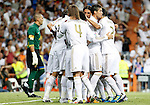 Real Madrid's Mesut Ozil, Cristiano Ronaldo, Karim Benzema, Marcelo Vieira, Angel Di Maria, Sergio Ramos and Pepe celebrates goal in presence of FC Barcelona's Victor Valdes dejected (l) during Spanish Supercup 1st match.August 14,2011. (ALTERPHOTOS/Acero)