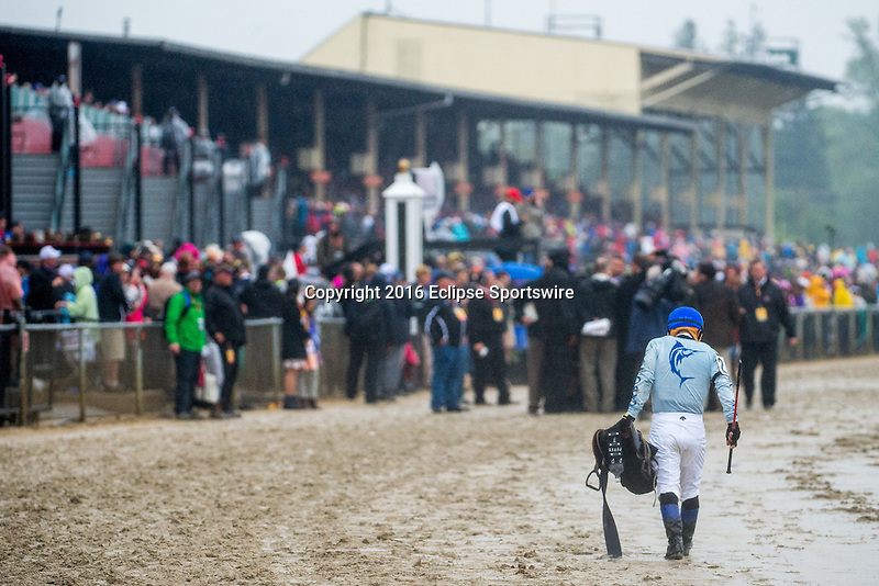 BALTIMORE, MD - MAY 21: Fernando Hernandez Perez, jockey of Uncle Lino #2 (not pictured), walks down the track after the 141st running of the Preakness Stakes at Pimlico Race Course on May 21, 2016 in Baltimore, Maryland. (Photo by Amy K. Dragoo/Eclipse Sportswire/Getty Images)