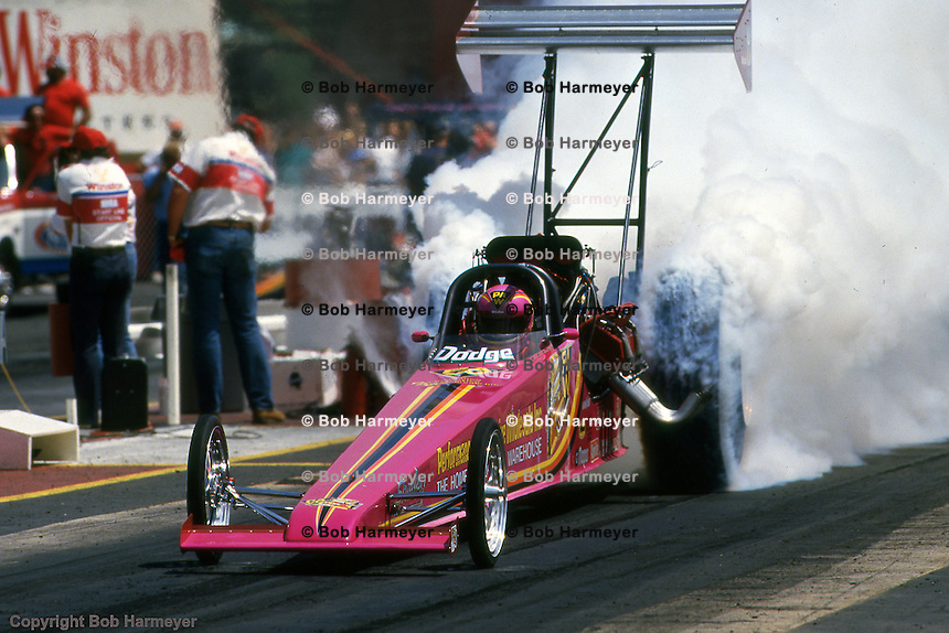 ATLANTA, GEORGIA: Shirley Muldowney does a burnout in her Top Fuel dragster before racing in the 1988 NHRA drag race at Atlanta Dragway near Commerce, Georgia.