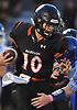 Joe Rende #10, Babylon quarterback, runs the ball on a keep during a Suffolk County Division IV varsity football game against Glenn at Babylon High School on Friday, Oct. 6, 2017.