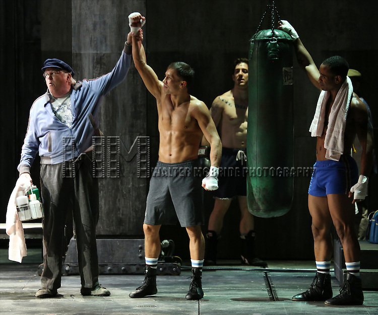 Dakin Matthews and cast with World Middleweight Champ Gennady Golovkin making his Broadway Debut In 'Rocky Broadway' at the Winter Garden Theatre on July 23, 2014 in New York City.  at the Winter Garden Theatre on July 23, 2014 in New York City.
