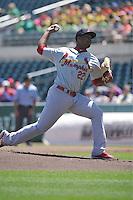 Memphis Redbirds Alex Reyes (22) throws during the Pacific Coast League game against the Iowa Cubs at Principal Park on June 7, 2016 in Des Moines, Iowa.  Iowa won 6-5.  (Dennis Hubbard/Four Seam Images)
