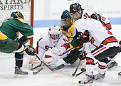 Carly Mercer (Clarkson - 15), Chloe Desjardins (Northeastern - 29), Juana Baribeau (Clarkson - 25), Rachel Llanes (Northeastern - 11), Sonia St. Martin (Northeastern - 12) - The Northeastern University Huskies defeated the visiting Clarkson University Golden Knights 5-2 on Thursday, January 5, 2012, at Matthews Arena in Boston, Massachusetts.
