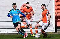 Blackpool's Jimmy Ryan competes with Fleetwood Town's Conor McAleny<br /> <br /> Photographer Richard Martin-Roberts/CameraSport<br /> <br /> The EFL Sky Bet League One - Blackpool v Fleetwood Town - Saturday 14th April 2018 - Bloomfield Road - Blackpool<br /> <br /> World Copyright &not;&copy; 2018 CameraSport. All rights reserved. 43 Linden Ave. Countesthorpe. Leicester. England. LE8 5PG - Tel: +44 (0) 116 277 4147 - admin@camerasport.com - www.camerasport.com