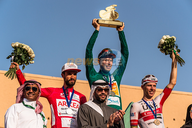 The final podium centre Phil Bauhaus (GER) Bahrain-Mclaren wins the overall general classification, left Nacer Bouhanni (FRA) Team Arkea Samsic and right Rui Costa (POR) UAE Team Emirates at the end of Stage 5 of the Saudi Tour 2020 running 144km from Princess Nourah University to Al Masmak, Saudi Arabia. 8th February 2020. <br /> Picture: ASO/Kåre Dehlie Thorstad   Cyclefile<br /> All photos usage must carry mandatory copyright credit (© Cyclefile   ASO/Kåre Dehlie Thorstad)