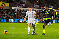 Alex Iwobi of Arsenal scores during the English Premier League game between Arsenal and Swansea at the Liberty Stadium in Swansea ,Wales, UK. Saturday 14 January 2017
