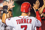 25 August 2016: Washington Nationals outfielder Trea Turner returns to the dugout after scoring in the 8th inning against the Baltimore Orioles at Nationals Park in Washington, DC. The Nationals blanked the Orioles 4-0 to salvage one game of their 4-game home and away series. Mandatory Credit: Ed Wolfstein Photo *** RAW (NEF) Image File Available ***