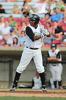 Kane County Cougars second baseman Daniel Mateo #3 bats during a game against the Beloit Snappers at Fifth Third Bank Ballpark on June 26, 2012 in Geneva, Illinois. Beloit defeated Kane County 8-0. (Brace Hemmelgarn/Four Seam Images)