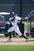 Oakland Athletics shortstop Yerdel Vargas (12) follows through on his swing during an Instructional League game against the Cincinnati Reds on September 29, 2017 at Lew Wolff Training Complex in Mesa, Arizona. (Zachary Lucy/Four Seam Images)